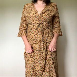 Showpo. | Floral Wrap Dress Mustard Rustic Frils